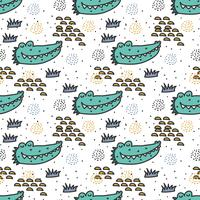 Coccodrillo Doodle Pattern Vector