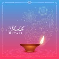 beautiful diwali background with diya and paisley design
