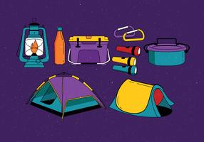 Camping suministros Knolling Vector