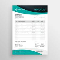 stylish modern wavy business invoice template