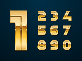 Golden Bold Numbers Vector Set