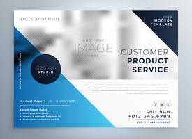 plantilla de diseño de folleto profesional azul geométrica
