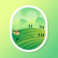 Vineyard Scenery Vector