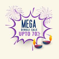 conception de modèle de bannière de vente méga diwali