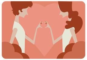 Filles mains amour signe vecteur