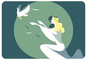 Woman And Peace Bird Vector