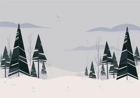 Vector Beautiful Winter Landscape Illustration