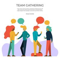 Flat Office Parties and Gatherings Vector Illustration
