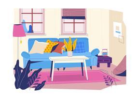 Gemütliches Einstellungs-Wohnzimmer mit Minimalismus-Design-Vektor-flacher Hintergrund-Illustration