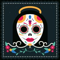 Vector Mexican Skull Mask Illustration