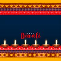 Diseño hindú del saludo del estilo del ethinc del festival de Diwali