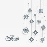 fundo de Natal branco mínimo com decoração de flocos de neve
