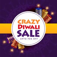 crazy diwali sale poster design with crackers
