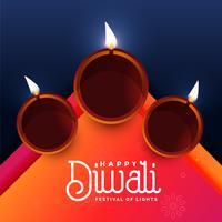 elegante diwali festival diya saudação design