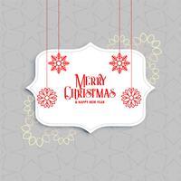 Elegante saludo de feliz navidad con decoracion de copos de nieve.