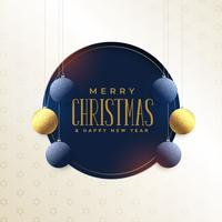 merry christmas card design with hanging snowflakes