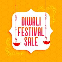 awesome diwali festival sale banner with hanging diya lamps