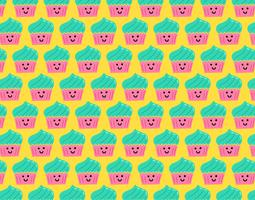 happy smiley cupcake seamless pattern