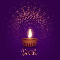 beautiful diwali festival diya on mandala background
