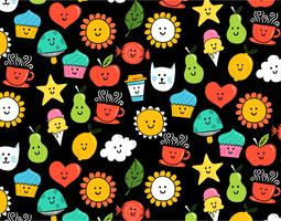 happy icon seamless pattern