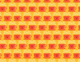 smiley coffee cup seamless pattern