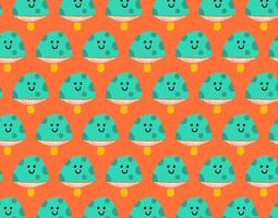 happy seamless mushroom pattern vector