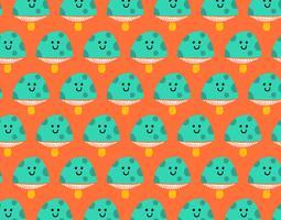 happy seamless mushroom pattern