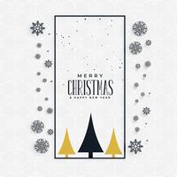 stylish christmas greeting concept design with snowflakes and tr