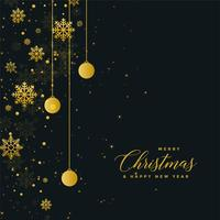 Diseño oscuro del cartel de la celebración de Navidad con bolas de oro ys
