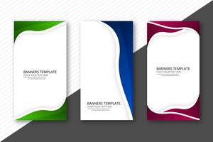 Resumen tres olas colorido web banners encabezado set plantilla des