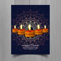 Happy diwali diya oil lamp festival brochure template design