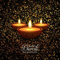 Happy diwali diya oil lamp festival glitters background