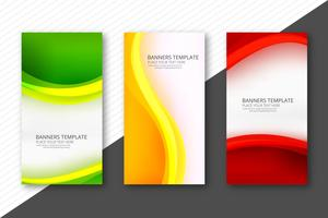 Abstract colorful wavy banners set web template design