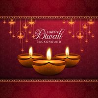 Elegant Happy Diwali decorative red background
