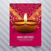 Beautiful Happy diwali diya oil lamp festival template brochure