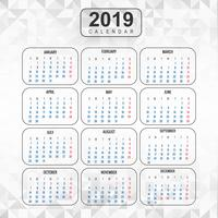 Year 2019, Calendar Beautiful Design