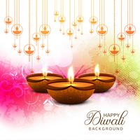 Happy diwali diya oil lamp festival card background illustration
