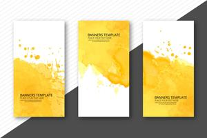 Beautiful soft watercolor headers set template vector