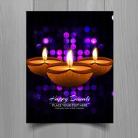 Beautiful Happy diwali diya oil lamp festival template brochure
