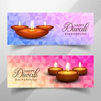 Happy diwali diya oil lamp festival headers set design vector
