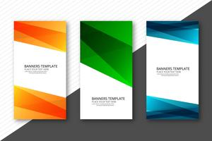 Modern colorful wavy template banners set design