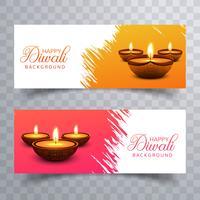 Happy diwali diya oil lamp festival headers set design vector