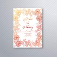 Wedding invitation card template with decorative floral backgrou