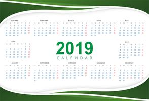 Calendar 2019 Template with wave background