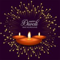 Celebration Happy Diwali decorative oil lamp background vector