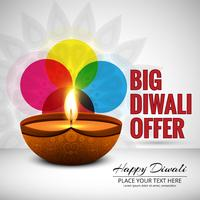 Happy diwali diya oil lamp festival background illustration vector