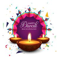 Beautiful greeting card for festival happy diwali background vec vector