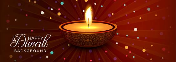 Happy diwali diya oil lamp festival header design