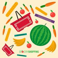 Red Plastic Shopping Basket Full Of Groceries Vector Illustration