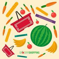 Red Plastic Shopping Basket Full Of Groceries Vector Illustration